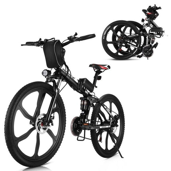 Electric Mountain Bike 21 Speeds Shifter Adult Folding E-Bike Disc Brake 36V/8Ah Lithium Battery