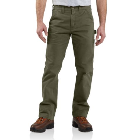 CARHARTT WASHED TWILL RELAXED FIT WORK PANT B324 ARMY GREEN