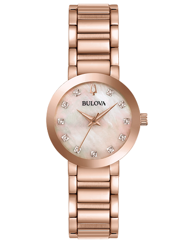 Bulova Modern Quartz Diamond Mother of Pearl Dial Ladies Watch 97P132