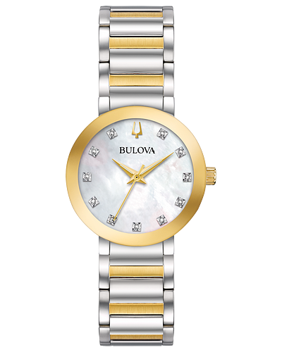Bulova Mother of Pearl Crystal Dial Two-tone Ladies Watch 98P180