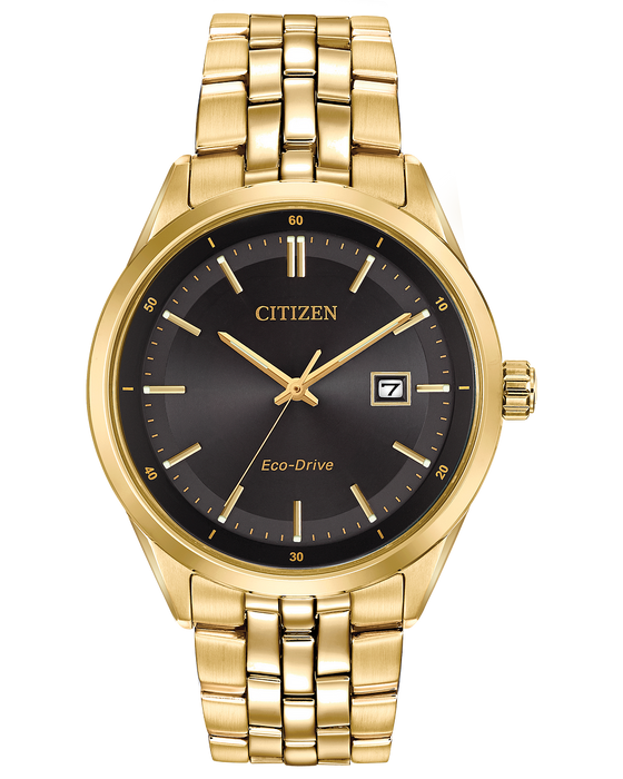 Citizen Men's Corso Eco-Drive Gold-Tone Black Dial Watch BM7252-51E