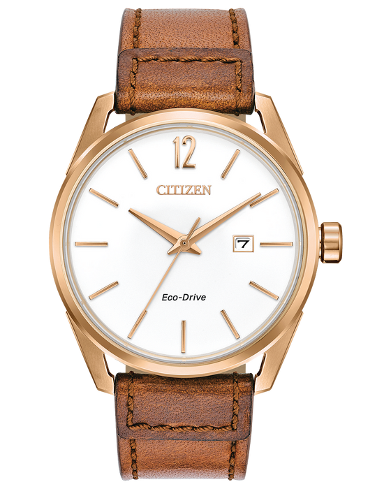 Citizen Men's CTO Eco-Drive White Dial Brown Leather Watch | BM7413-02A