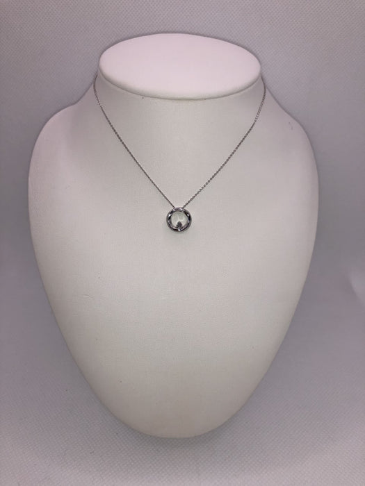 10K White Gold Diamond Pendant Necklace