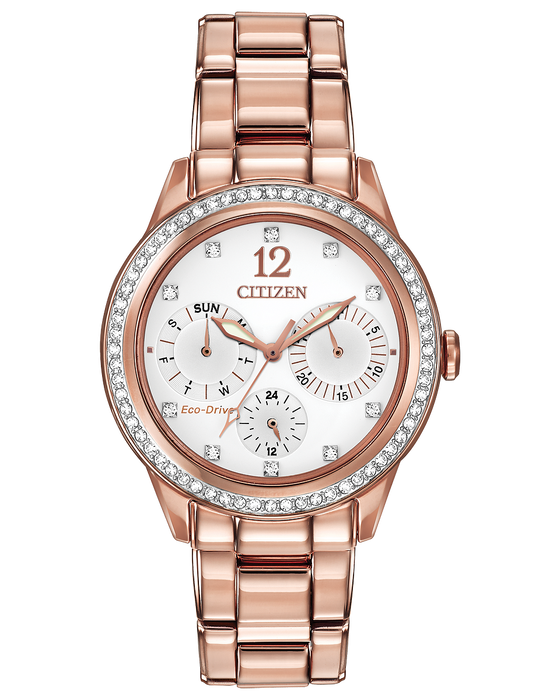 Citizen Silhouette Crystal White Dial Ladies Watch FD2013-50A