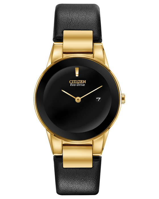 Citizen Axiom Ladies Eco-Drive Watch In Gold Tone Case and Black Leather Strap GA1052-04E