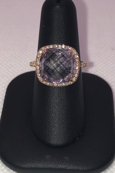 14K Rose Gold Amethyst Ring With Diamonds