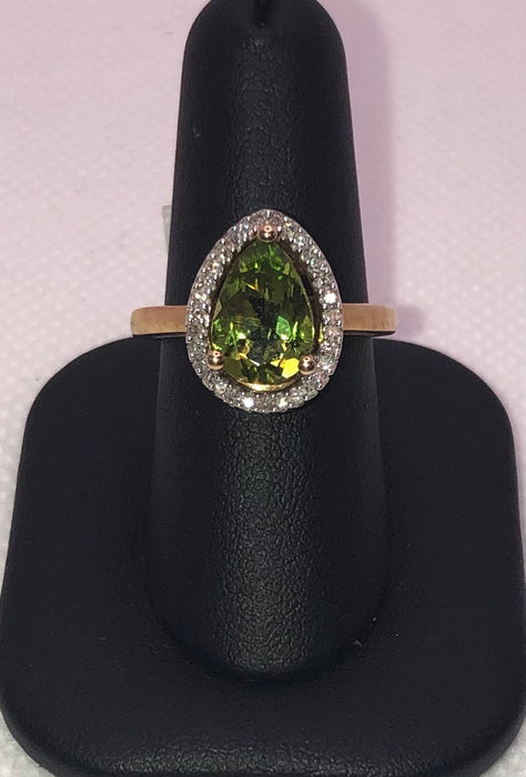 10K Yellow Gold Peridot Ring With Diamonds