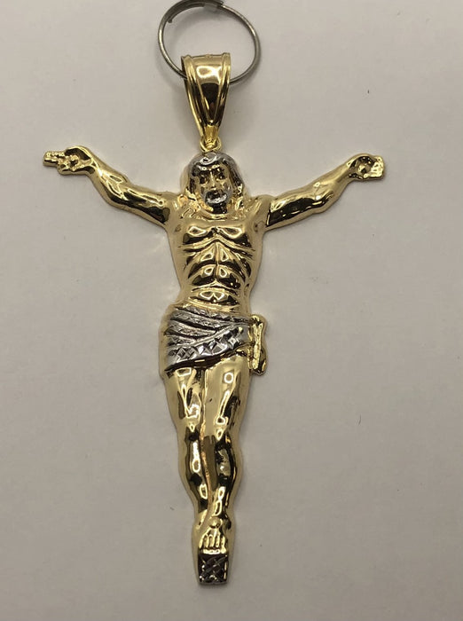 10K Yellow and White Gold Jesus Pendant