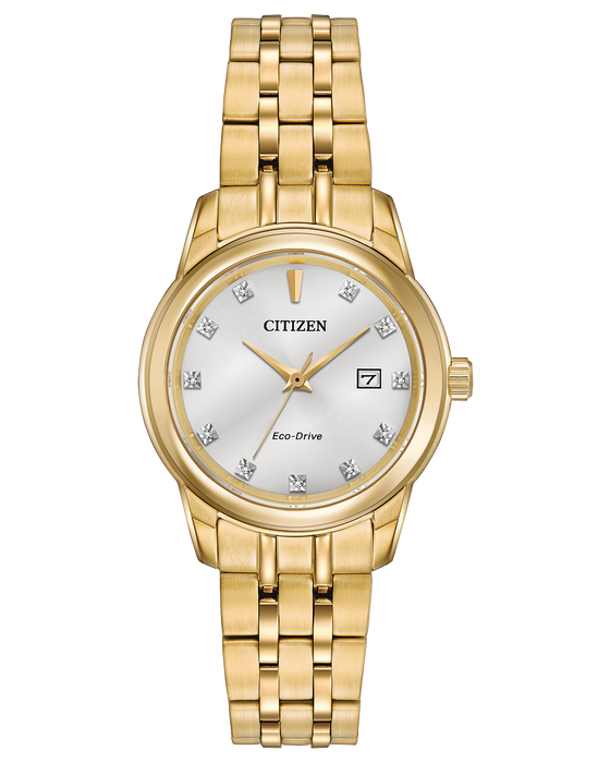 Citizen Diamond Silver Dial Yellow Gold-tone Ladies Watch EW2392-54A