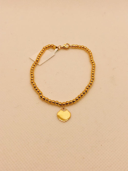 10K Yellow Gold Heart Charm Bracelet