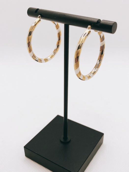 14K Yellow & White Gold Hoop Earrings
