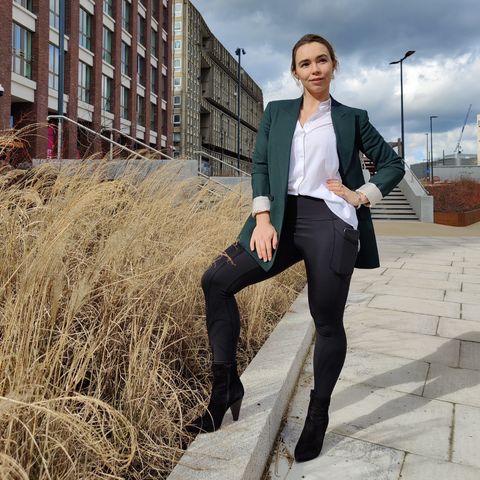 Leggings with a blazer and heels