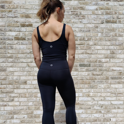 Black leggings with matching top