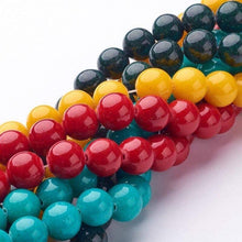 Load image into Gallery viewer, Dyed Round Jade Gemstone Loose Jewelry Beads, Red Yellow Blue Green Pink Stone, 4-12mm 15.5'' strand