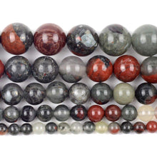 Load image into Gallery viewer, African Bloodstone Beads, Round gemstone, full strand 15.5'' 6-12mm