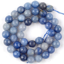 Load image into Gallery viewer, Natural Faceted Blue Aventurine Beads, 4-10mm Round, 15''5 strand