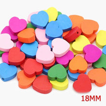 Load image into Gallery viewer, Heart Wood Mix Color Wooden Beads For Jewelry Making 13/18mm