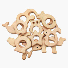 Load image into Gallery viewer, Baby Wooden Teethers beads, Natural Beech Wood, Animals Shape, Pacifier Newborn Toys Beads