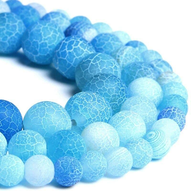 Natural Matte Frosted Light Blue Fire Crackle Agate beads, 4-12mm, baby blue agate uk