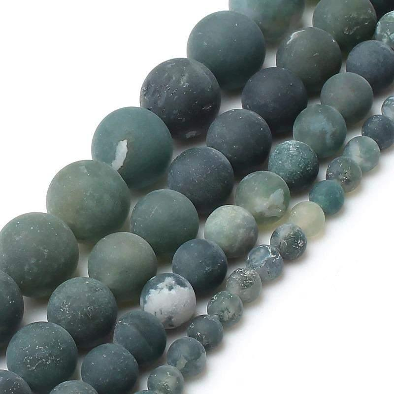 Natural matte green moss agate mala beads, 4-12mm, 15.5'' full strand