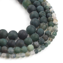 Load image into Gallery viewer, Natural matte green moss agate mala beads, 4-12mm, 15.5'' full strand