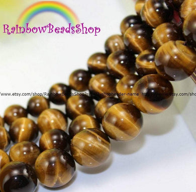Natural Brown Yellow Tiger Eye Beads,  Gemstone Beads, Jewelry Spacer Stone Round Beads, 4mm 6mm 8mm 10mm 12mm 14mm - RainbowShop for Craft