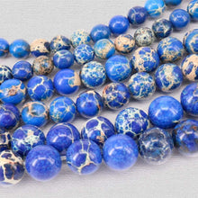 Load image into Gallery viewer, Natural Sea Sediment Dark Blue Jasper Beads, Blue Gemstone Beads, Stone Beads, Round Natural Spacer Beads 4mm 6mm 8mm 10mm 12mm - RainbowShop for Craft