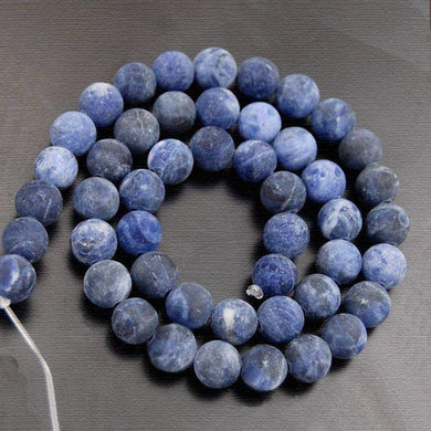 Natural Matte Sodalite Beads, Blue Matte Gemstone beads, Stone Beads, Spacer Beads, Round Natural Beads, Full Strand, 4mm 6mm 8mm 10mm 12 mm - RainbowShop for Craft