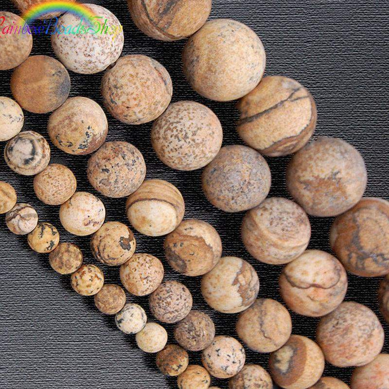 Natural Matte Picture Jasper Beads, Brown Gemstone Beads, Round Natural Beads 4mm 6mm 8mm 10mm 12mm - RainbowShop for Craft