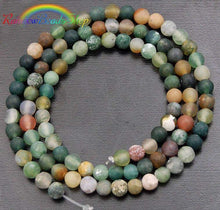 Load image into Gallery viewer, Natural Matte Indian Agate beads, Green Gemstone Beads, Stone Spacer Beads, Round Natural Beads, 15''5 4mm 6mm 8mm 10mm 12mm - RainbowShop for Craft