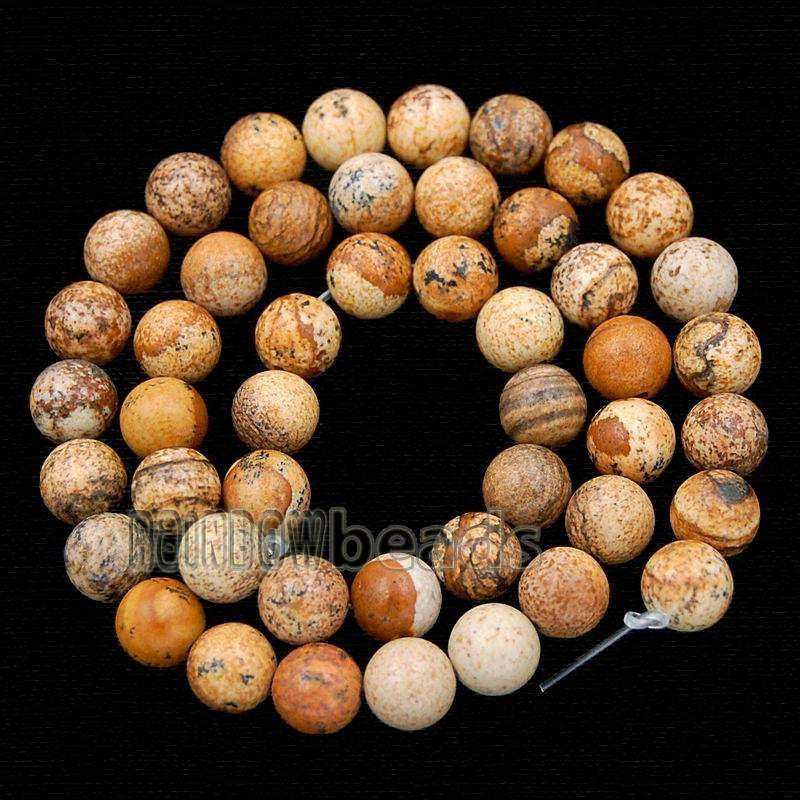 Jasper Picture Beads, Brown beads, Gemstone beads, Round Stone Natural Beads, 15''5 Full Strand, 2mm 3mm 4mm 6mm 8mm 10mm - RainbowShop for Craft