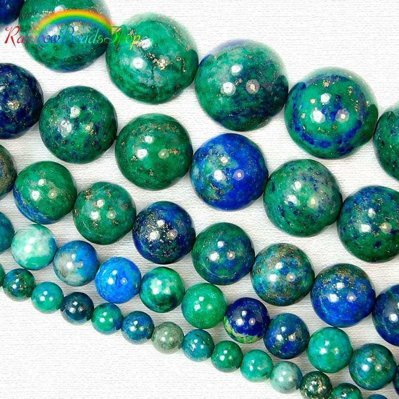 Natural Blue Green Chrysocolla beads, Gemstone Beads, Stone Round Natural Beads, 4mm 6mm 8mm 10mm 12mm 15''5 strand - RainbowShop for Craft