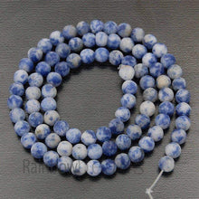 Load image into Gallery viewer, Frosted Matte Blue Spot Jasper beads, 4mm 6mm 8mm 10mm 12mm Gemstone Beads, Round Natural Beads, 15''5 - RainbowShop for Craft