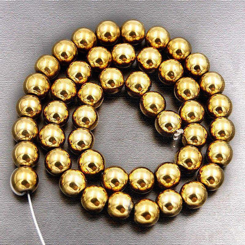 Natural Gold Hematite Beads, loose Beads, Gemstone Beads, Round Natural Beads,  2mm 3mm 4mm 6mm 8mm 10mm 15''5 strand - RainbowShop for Craft