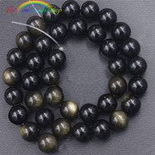 Load image into Gallery viewer, Natural Black Golden Obsidian beads, Gemstone Beads, 4mm 8mm 10mm 12mm 14mm 16mm 18mm Natural Round Stone Beads, 15''5 strand - RainbowShop for Craft