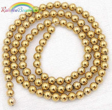 Load image into Gallery viewer, Natural Gold Hematite Beads, loose Beads, Gemstone Beads, Round Natural Beads,  2mm 3mm 4mm 6mm 8mm 10mm 15''5 strand - RainbowShop for Craft