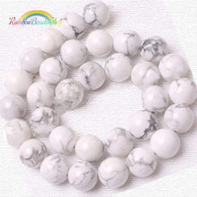 Load image into Gallery viewer, White Turquoise Howlite Beads, White Beads, Gemstone Beads, Round Natural Beads, Jasper Beads, 2mm 3mm 4mm 6mm 8mm 10mm 12mm - RainbowShop for Craft