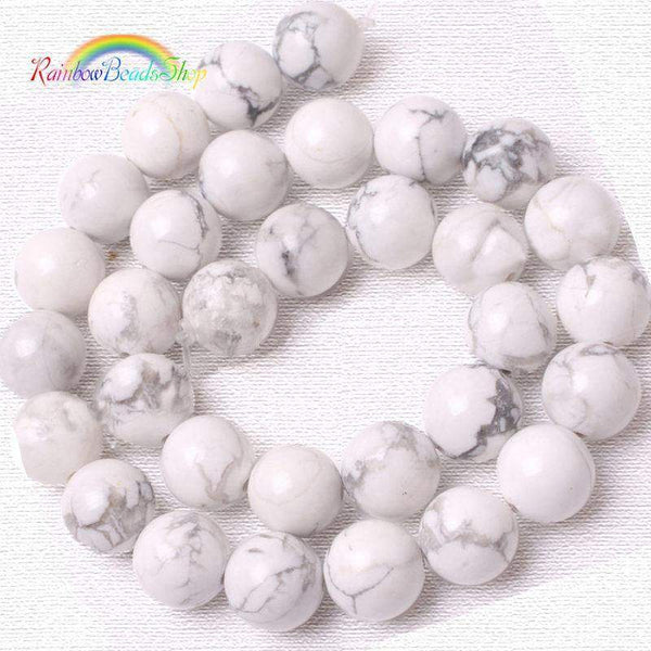 White Turquoise Howlite Beads, Gemstone Round, 2-12mm, 15.5'' strand