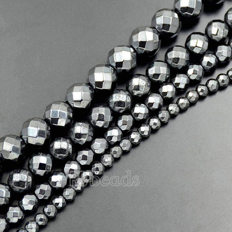 Natural Black Faceted Hematite Beads, Gemstone beads, Round Natural Beads, 2mm 3mm 4mm 6mm 8mm  9mm 10mm - RainbowShop for Craft