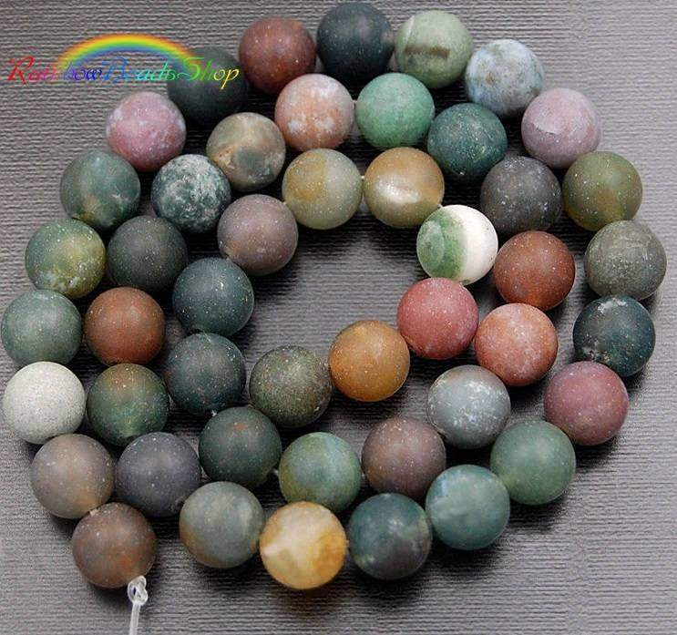 Natural Matte Indian Agate beads, Green Gemstone Beads, Stone Spacer Beads, Round Natural Beads, 15''5 4mm 6mm 8mm 10mm 12mm - RainbowShop for Craft