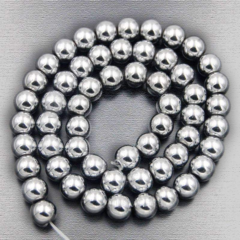 Natural Silver Hematite Beads, Gemstone Beads, Round Natural Beads, 2mm 3mm 4mm 6mm 8mm 10mm 15''5 strand - RainbowShop for Craft