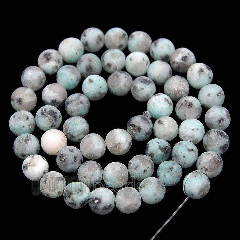 Frosted Matte lotus Kiwi Jasper Beads, White Blue Jasper Natural Gemstone Beads, 4mm 6mm 8mm 10mm White Blue Stone Round Beads - RainbowShop for Craft