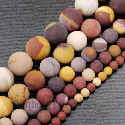 Frosted Matte Moukaite Jasper Red Yellow beads, 4mm 6mm 8mm 10mm 12mm Gemstone Beads, Round Natural Beads, 15''5 - RainbowShop for Craft