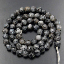 Load image into Gallery viewer, Faceted larvikite Round 4mm 6mm Labradorite Beads, Blue grey Labradorite 8mm 10mm Beads, Natural Gemstone Beads 12mm - RainbowShop for Craft