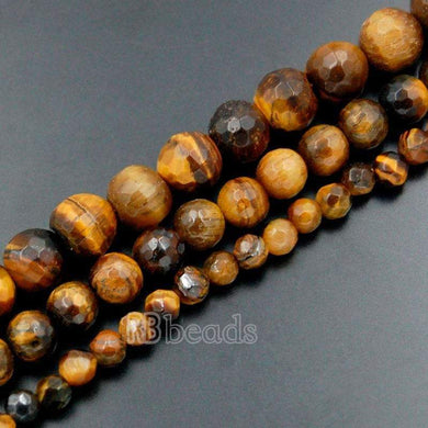 Natural Faceted Brown Yellow Tiger Eye Beads, Gemstone Beads, Jewelry Round Stone Spacer Beads 4mm 6mm 8mm 10mm - RainbowShop for Craft
