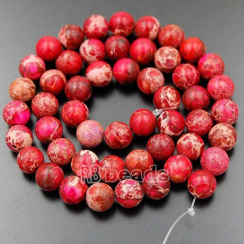 Natural Sea Sediment Jasper Beads, Red Jasper Beads, Red Beads, Red Gemstone Beads, Round Natural Beads, 4, 6, 8, 10, 12mm - RainbowShop for Craft