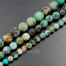 Load image into Gallery viewer, Natural Faceted African Turquoise Beads, 4mm 6mm 8mm Round Jewelry Gemstone Spacer Stone Beads, 15''5 strand. For Jewelry making and Beading - RainbowShop for Craft