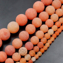 Load image into Gallery viewer, Natural Matte Red Orange Aventurine Beads, 4mm 6mm 8mm 10mm 12mm Round Jewelry Gemstone Stone Beads, 15'5 st. For Jewelry making and Beading - RainbowShop for Craft