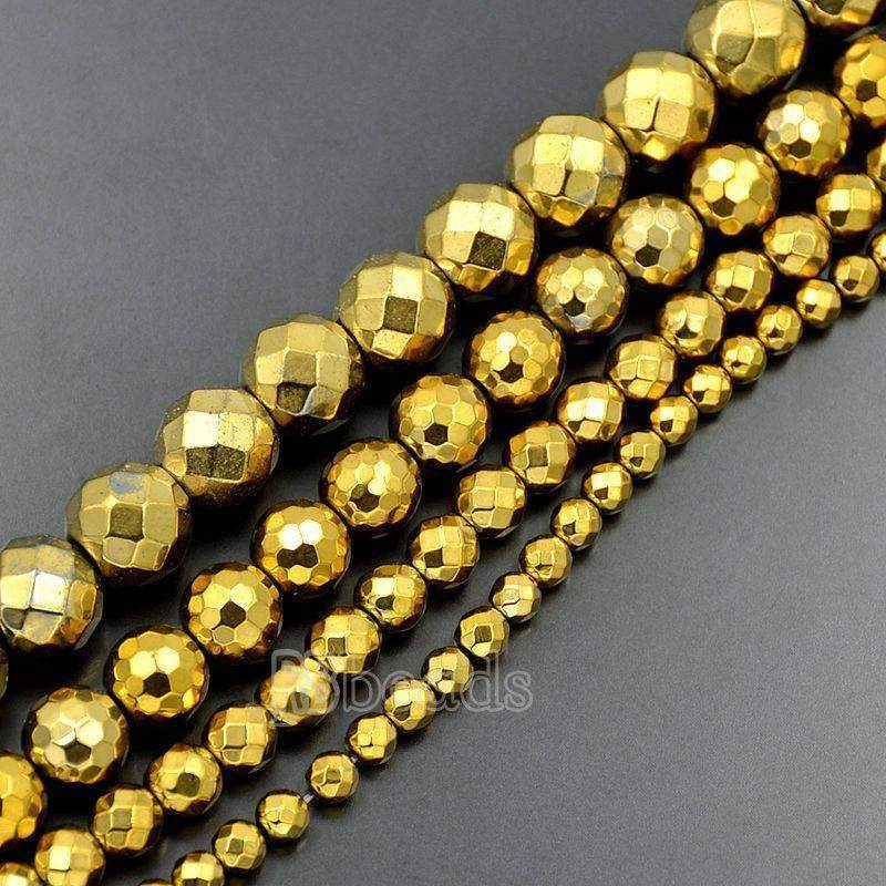 Natural faceted Gold Hematite Beads, loose 4mm 6mm 8mm 10mm Round Hematite beads, Spacer Gold Gemstone beads, Jewelry Faceted beads - RainbowShop for Craft