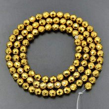 Load image into Gallery viewer, Natural faceted Gold Hematite Beads, loose 4mm 6mm 8mm 10mm Round Hematite beads, Spacer Gold Gemstone beads, Jewelry Faceted beads - RainbowShop for Craft